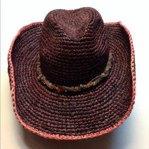 Raffia straw river rocks hat by Michael Stars
